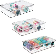mDesign Plastic Art and Sewing Stacking Storage Organizer Box - Divided, Clear Pack of 3 transparent 00746MDCS