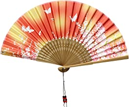 Nestarfactory Spun Silk Bamboo Collections the Japanese Sytle Designs Folding Hand Held Fans with Exclusive Gift (Fan-2)