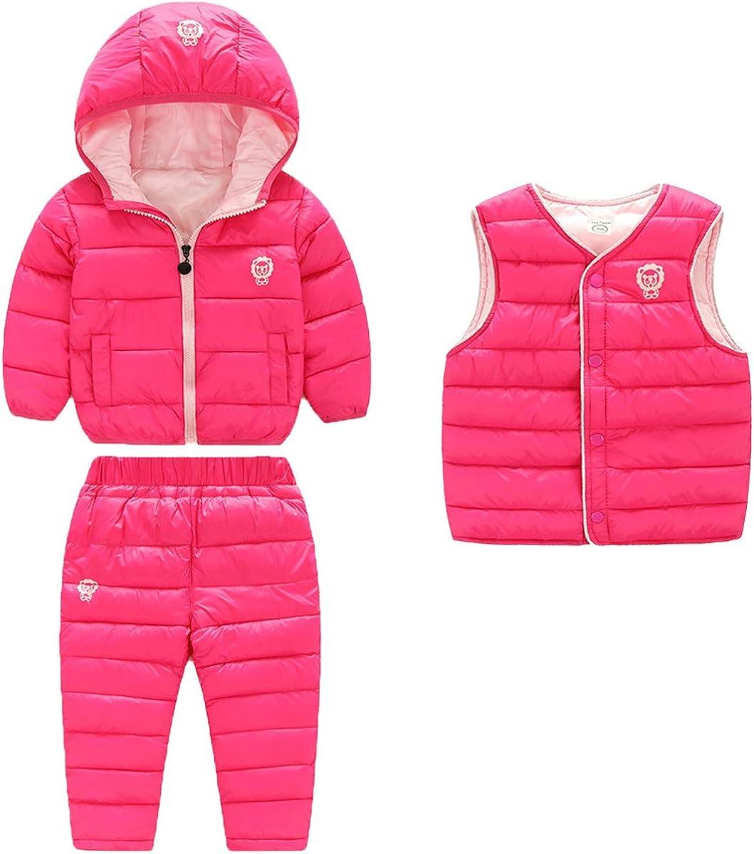 3 Piece Baby Boys Girls Windproof Winter Warm Down Jacket+Ski Pants+Vest Outfit Cotton-Padded Snowsuits Set