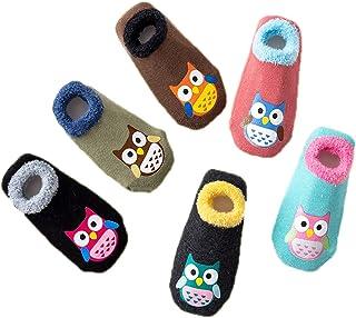 6 Pares Calcetines Antideslizante para Bebé Niña Niño Animados Lindo Búho Algodón Calcetines de Bebé