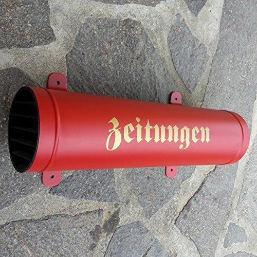 Zeitungsrolle aus Metall mit Verschlussgitter Zeitungsrohr Zeitungsfach Zeitungsbox (Rot)