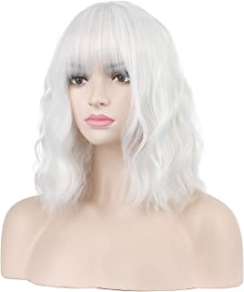 Jesban Silver White Wig for Women, Short Curly Bob Wigs with Bangs for Girls Synthetic Fiber Silver White Wigs with Wig Cap
