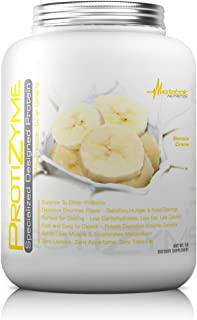 Metabolic Nutrition, Protizyme, 100% Whey Protein Powder, High Protein, Low Carb, Low Fat Whey Protein, Digestive Enzymes, 24 Essential Vitamins and Minerals, Banana Creme, 5 Pound (ser)