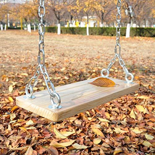 XINKAI Columpio Columpio de jardín de Madera Maciza Asiento de Altura Ajustable Silla Colgante Columpio Infantil Multifuncional con Cadena de Hierro(Size:60x20cm)