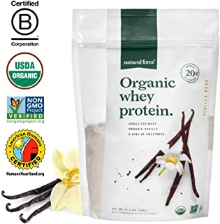 Natural Force® Organic Whey Protein Powder 14.3 oz. *Premium Vanilla Flavor* A2 Grass Fed Whey Protein Concentrate – Ranked #1 Best Organic Whey - Certified Keto, Paleo Friendly, Non-GMO and Humane