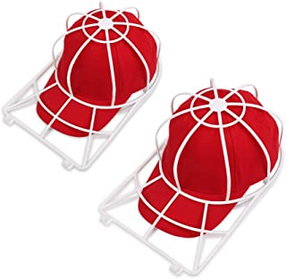Hat Washer for Washing Machine,2 Pack Cap Washer for Dishwasher,Baseball Cap Washer for Flat or Curved Bill,Ball cap Washer Rack,Plastic Hat Cage for Washing,Hat Wash Cleaner Protector (2 White)