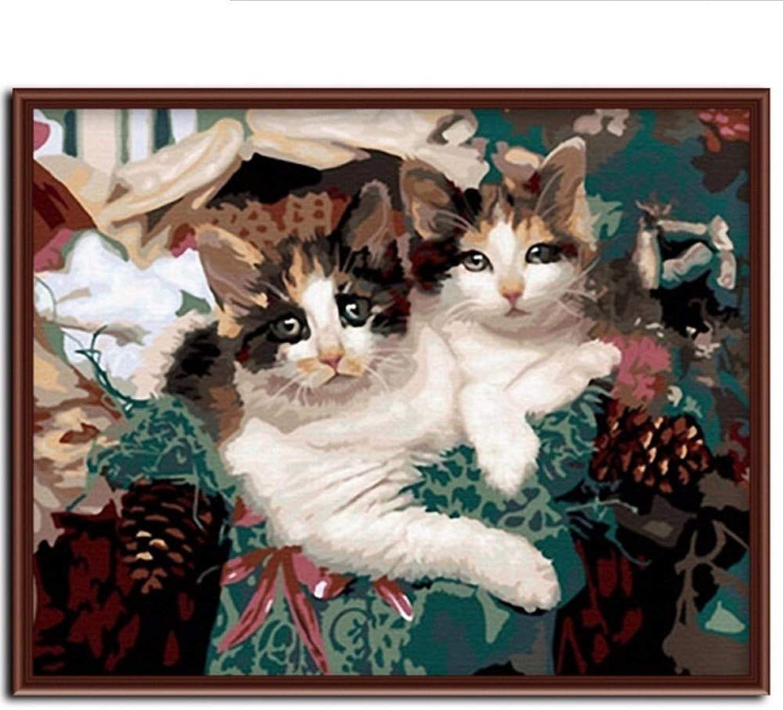 Waofe Neue Wandkunst Frameless Bilder Bilder Bilder Malen Nach Zahlen Diy Ölgemälde Auf Leinwand Wohnkultur Von Schöne Katze Für Wohnzimmer G032 B07Q5M954N | Neuankömmling  d66c51