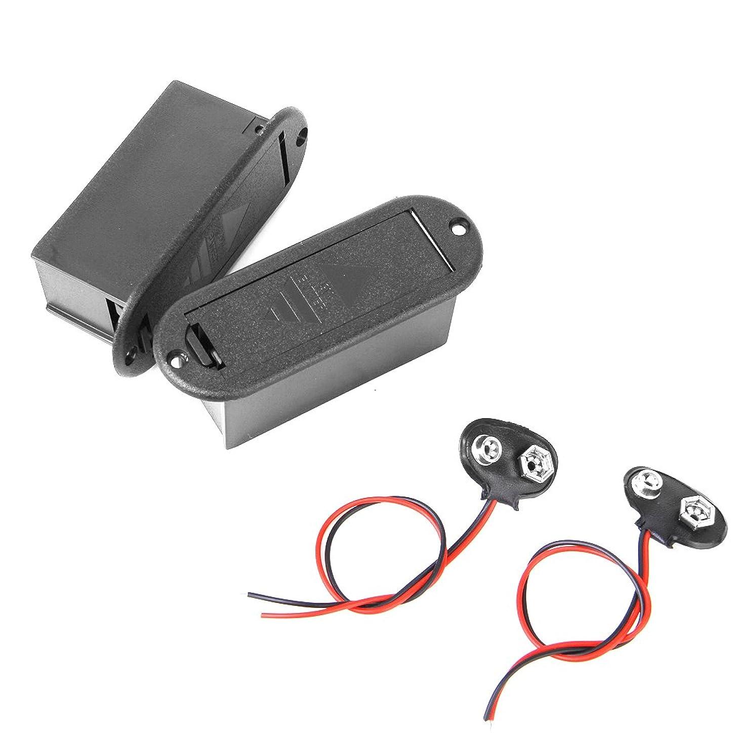 非効率的な繰り返した小屋【ノーブランド品】バッテリクリップ/ Wバッテリーケースボックスと9V電池9V 2本のギターピックアップ