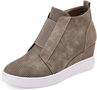 Women's Concise Criss-Cross Cut-Out Wedge Sneakers Comfortable Back Zipper Shoes