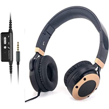 Active Noise Cancelling Headphones with Microphone and Airplane Adapter, Folding and Lightweight Travel Headsets, Hi-Fi Deep Bass Wired Headphones with Carrying Case