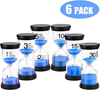 Happycat Sand Timer,6 Pieces Hourglass Sandglass Timer 1min / 3mins / 5mins / 10mins / 15mins / 30mins for Games Classroom Home Office (blue)