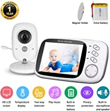 Video Baby Monitor with Digital Camera and Audio 3.2'' LCD Baby Security Camera with 2PCS High Capacity Batteries,Magnet Holder,Two-Way Audio, 960ft Range,VOX Night Vision, Room Temperature,Lullabies