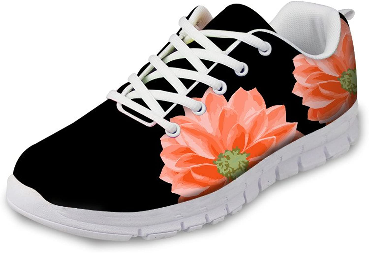 Chaqlin Black Women Road Running shoes Vintage Floral Outdoor Sport Sneaker