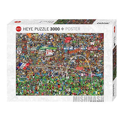 HEYE 29205 - Standardpuzzle Fussball History, Alex Bennett, 3000 Teile, Limitierte Auflage mit Golddruck