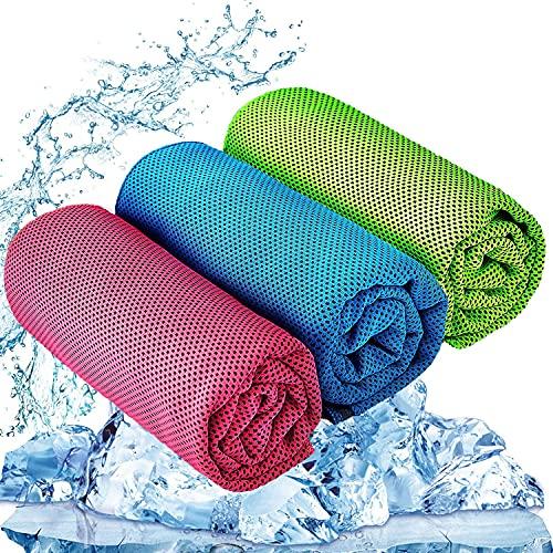 zhifan 3 toallas frías (100 x 30 cm), toalla fría de microfibra, toalla fría suave y transpirable, adecuada para yoga, golf, fútbol, correr y otras actividades