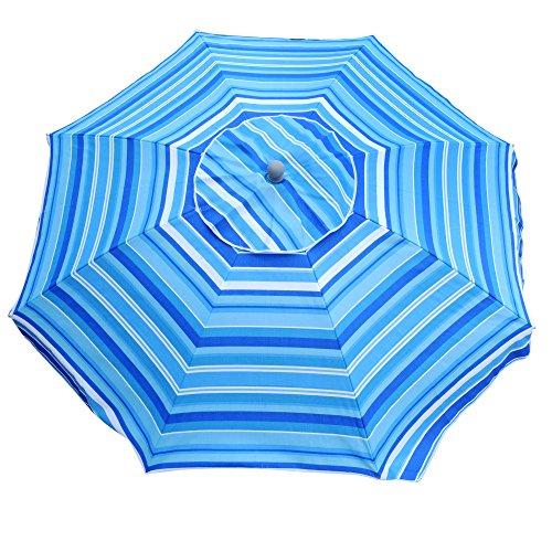 Snail 7 ft Beach Umbrella with Integrated Sand Anchor & Tilt Aluminum Pole, Portable Sun ray Protection Beach Umbrella with Carry Bag for Outdoor Patio, Blue
