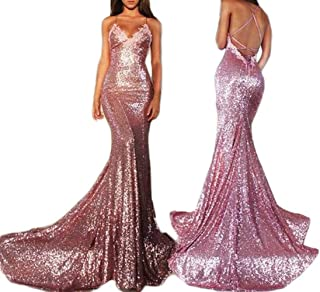 2017 Women's Sexy Mermaid Spaghetti Straps Sequins Long Prom Party Dresses GTD339