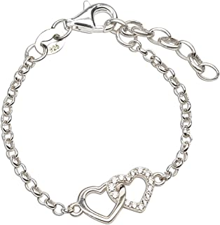 Sterling Silver Mom and Me Double Heart Bracelet Sold as a Set or individually