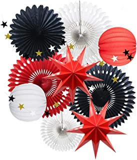 Red White Black Minnie Mouse Themed Party Decoration, Hanging Tissue Paper Fans Star Garland Paper Lanterns for Graduation Ladybugs Theme Party Baby Shower