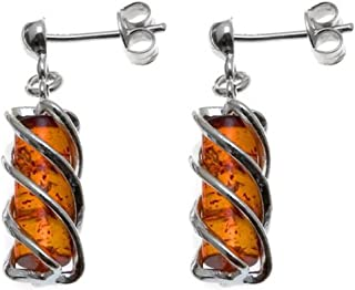 Honey Amber Sterling Silver Twisted Tower Earrings
