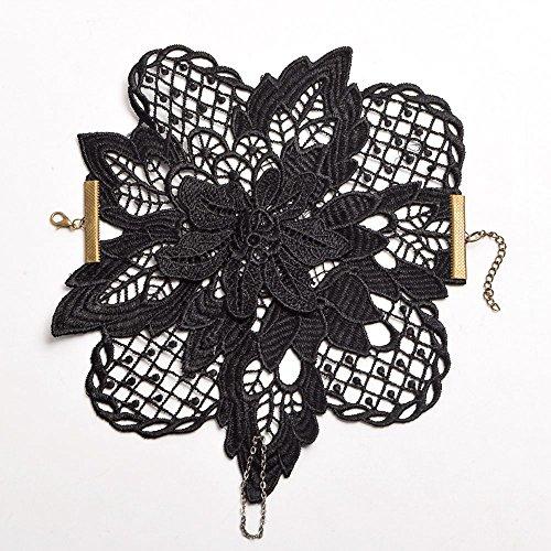 Guantes vintage para muñeca con diseño retro, color negro, brazalete de encaje único (color: negro, talla única)