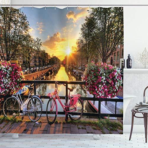 ABAKUHAUS Amsterdam Duschvorhang, Sonnenaufgang über der Stadt, mit 12 Ringe Set Wasserdicht Stielvoll Modern Farbfest & Schimmel Resistent, 175x200 cm, Mehrfarbig