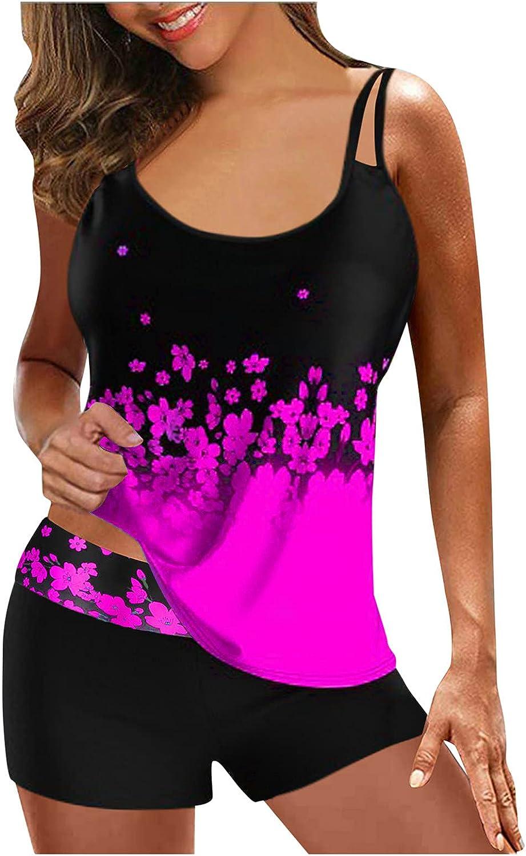 BEIBEIA Beachwear High Waist Swimsuit for Women Plus Size Two Piece Tankini Tummy Control Bathing Swimwear Boyshort Swimsuit