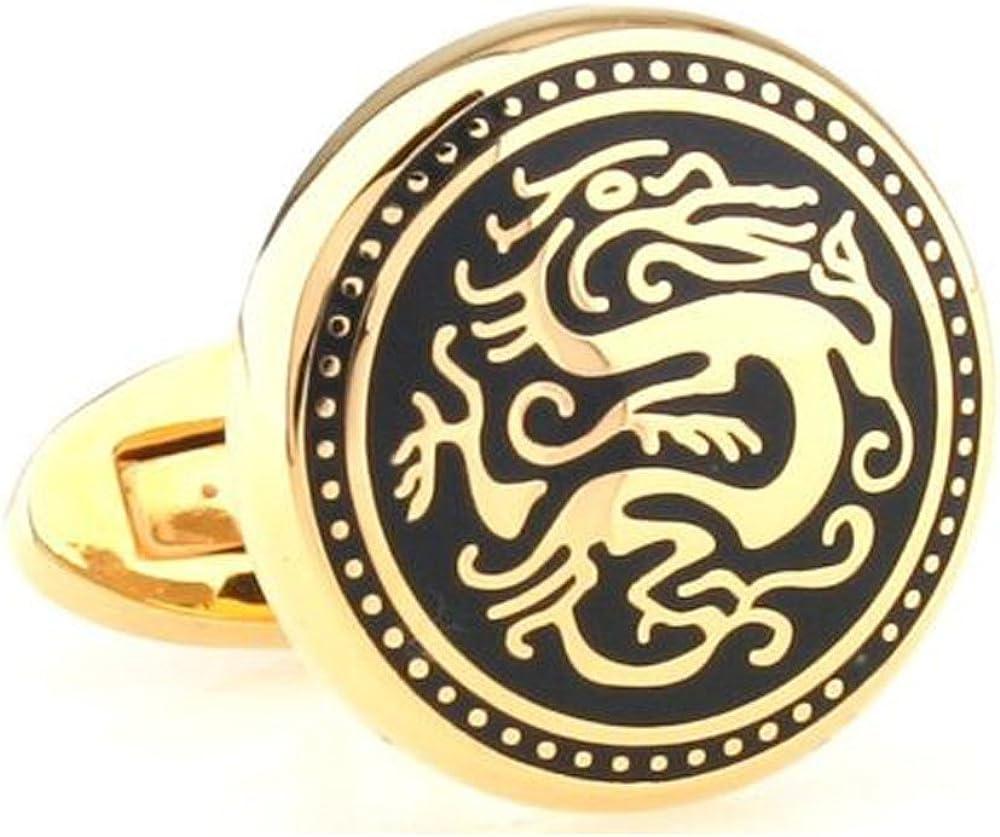 Men's Executive Gold Tone Black Enamel Intricate Dragon Design Cufflinks Cuff Links