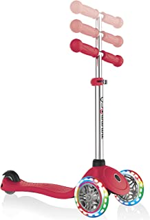 Globber G423102-3 Primo Lights Kids Scooter with Anodized T-Bar, Red