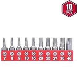Protorq TORX Tamper Resistant Bits, Security Torx Bits (T7-T40), Security Star Bits, 25mm, 10 –Pieces, High Grade S2 Steel
