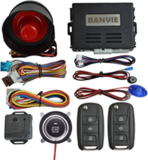 BANVIE Car Security Alarm System with Remote Engine Start & Push to Start Stop Button (1-Way Alarm + Remote Starter + Push Start Stop Buttton)