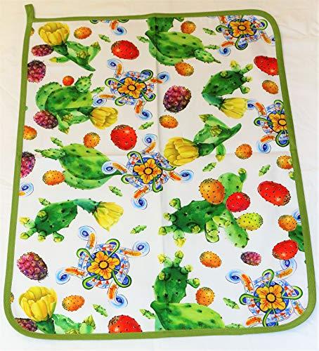 Paño de Cocina de Panamá de Puro algodón con Precioso Estampado Digital Annamaria Art. Fichi d'India 4002 All Over cm. 50 x 70 cm.