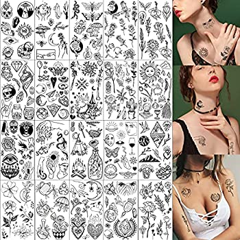 20 Sheets Black Tiny Temporary Tattoo Hands Face Tattoo Sticker for Men Women Flower Space Moon Snake Designs Body Art on Arm Neck Shoulder Clavicle Waterproof