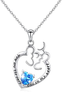 Mom Necklace S925 Sterling Silver I Love You Mom Heart Pendant Necklace Bracelet Mother Daughter Jewelry Sets for Women -18 inches
