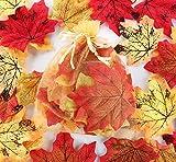 Sweelov 250 Stück künstliche Ahornblatt Herbstlaub Blätter Ahorn Laub Simulation Ahornblatt Für Halloween Erntedankfest Weihnachten Unterlage Wandbild, 5 Farben - 7