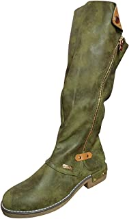 Women's Knee High Riding Boots Wide Calf,Cowboy Boots Motorcycle Riding Flat Low Heel Boots