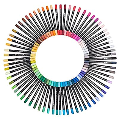 Marker Pens - Dual Tip Brush Pens with Fineliner Tip Art Markers for Adult Coloring Books, Drawing, Highlighting, Underlining