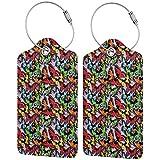 Hippy Butterfly - Juego de etiquetas de equipaje de cuero personalizado para maleta, accesorios de viaje