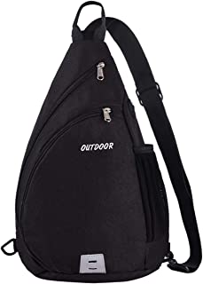 Sling Backpack for Man&Women,LUSAF Sling Bag Water/Tear Resistant 15L Crossbody Hiking Daypack Boys Girls(Black)