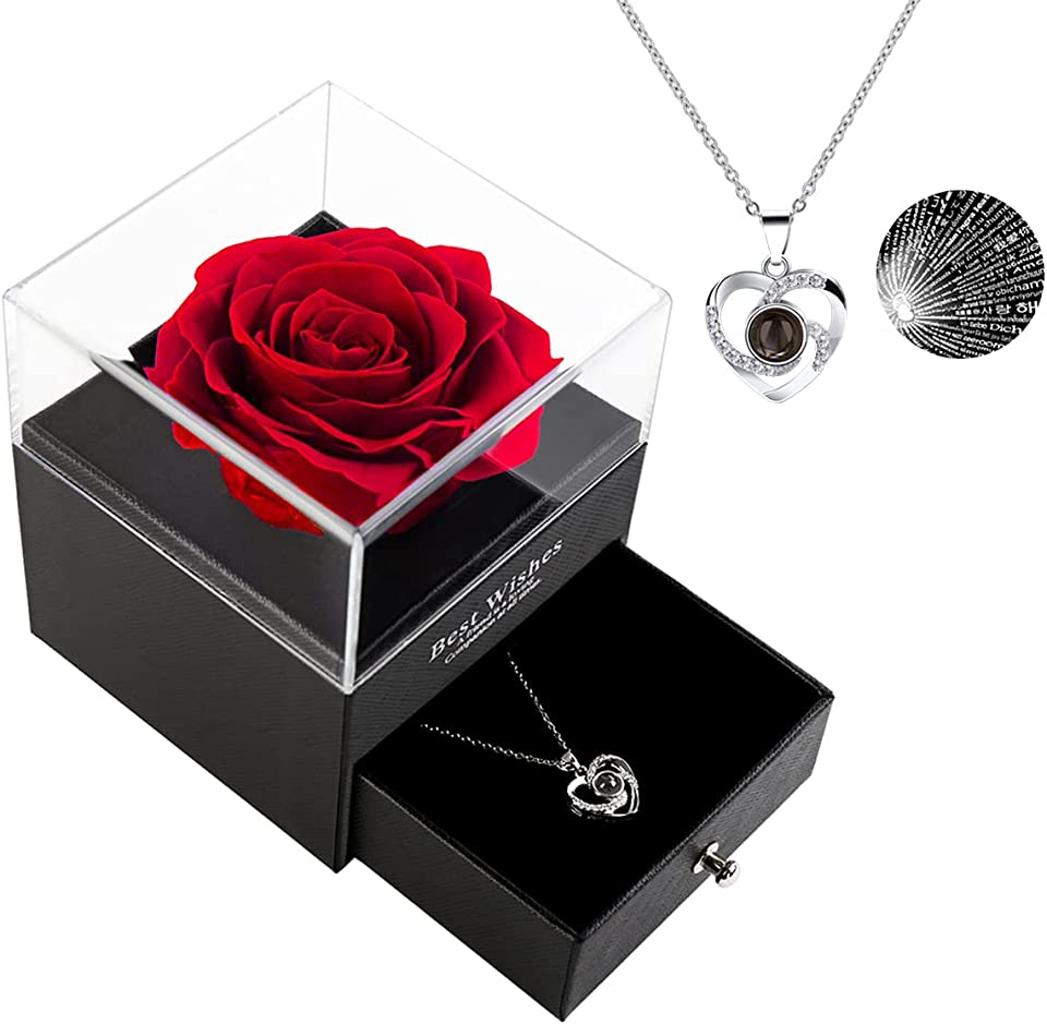 Best Gift for Mom Preserved Real Rose with 100 Language I Love You Sterling Silver Mom Necklace Mothers Day/ Christmas/Birthday Gifts for Mom/to Be New Mom Gifts