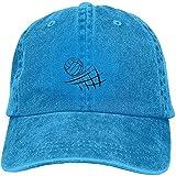 Gorra de béisbol ajustable de algodón lavado vintage lavado para papá con diseño de voleibol de playa, gorra de béisbol para exteriores, color azul