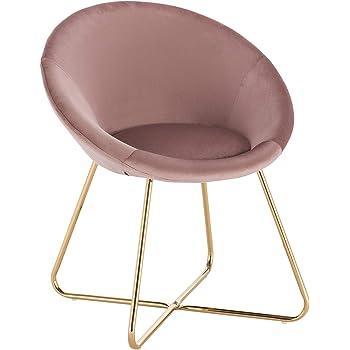 WOLTU 1 X Chaise de Chambre Chaise de Salle à Manger Assise en Velours Pied en métal,Rose BH217rs 1