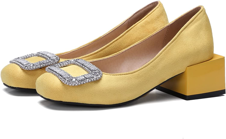 AIWEIYi Women Pumps Rhinestone Square Low Heel Platform Dress shoes Red