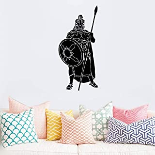 Vinyl Wall Decals Quotes Sayings Words Art Decor Lettering Vinyl Wall Art Greek Warrior Classic Spear Soldier for Living Room Bedroom
