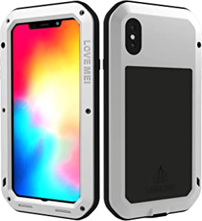 LOVE MEI iPhone Xs Max Case Silicone with Built-in Glass Screen Protector Full-Body Rugged Wireless Charging Sturdy Cover Heavy Duty Protection Shockproof Outdoor Case for iPhone Xs Max(Silver)