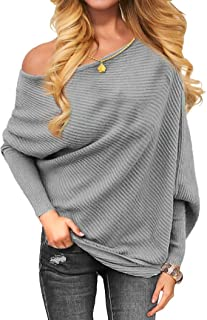 Women's Off The Shoulder Long Sleeve Pullover Knit Jumper Baggy Solid Sweater