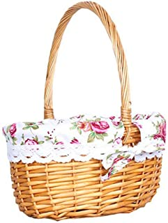 Wicker Basket Picnic Basket Gift Empty Oval Willow Woven Basket Easter Large Storage Wine Basket with Hand,White,S