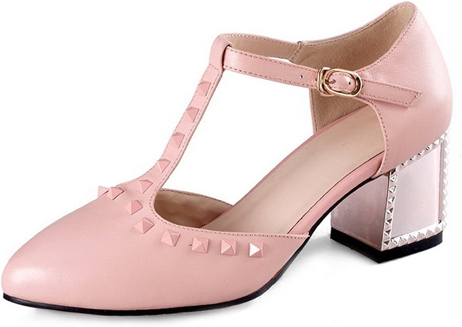 AmoonyFashion Women's Soft Material Buckle Pointed Closed Toe Kitten Heels Solid Pumps shoes