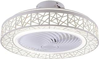 HKLY Ventilador de Techo con Lámpara, LED Luz del Ventilador, 3 Velocidades, 3 Colores Regulables con Control Remoto Inteligente 40W Lámpara de Techo para Sala de Estar del Dormitorio Negro,Blanco