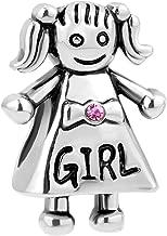 LovelyJewelry Rose Pink Crystal Mother's Girl Mom Dad Boy Bead For Charm Bracelet